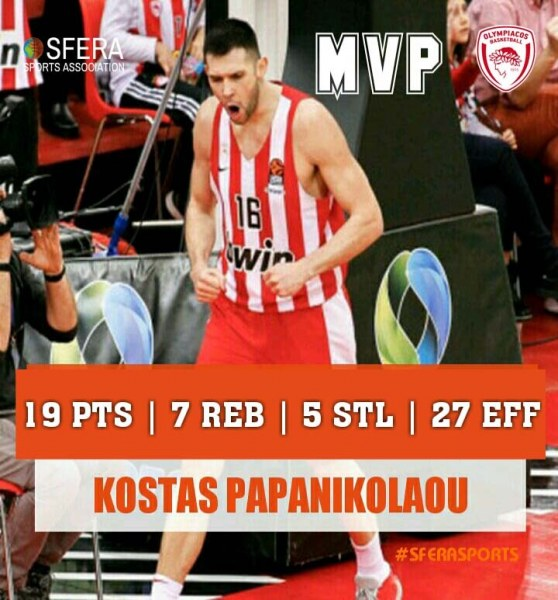 Papanikolaou was the MVP of the game and led Olympiacos to big victory!