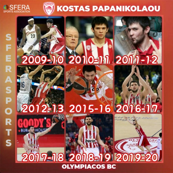 The upcoming season is the 10th for Kostas Papanikolaou with Olympiacos BC jersey!
